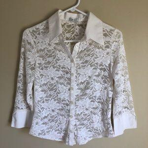 CACHE White Lace Blouse